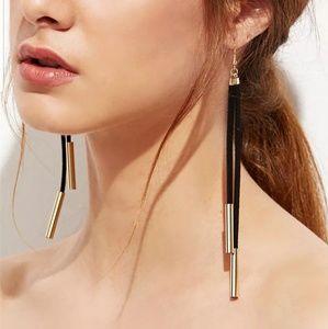 suade leather drop long earrings